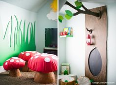 Cutest Woodland Playroom. Design by DesignLovesDetail.com. I love the mushroom seats & tree with chalkboard. So cool.