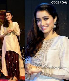 7036 Shraddha Kapoor's beige brown patiala suit - Shama's Collection