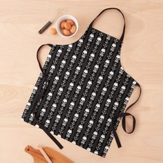"""Black & White Skull Stripes"" Apron by HavenDesign 