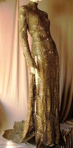 1920s crochet gown