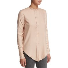 Helmut Lang Tuxedo Silk Button-Front Shirt ($360) ❤ liked on Polyvore featuring tops, apricot, shirts & tops, silk top, tux shirt, tuxedo shirt and helmut lang top