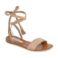 Women's Steve Madden Kapri Wraparound Lace Sandal ($50) ❤ liked on Polyvore featuring shoes, sandals, blush suede, steve madden, lace-up sandals, steve madden shoes, flat lace-up shoes and tassel sandals