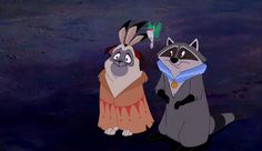 """Meeko, Flit, and Percy from """"Pocahontas"""" - Awww! They are the favorite part of Pocahontas ;)I loved this part Walt Disney, Disney Love, Disney Magic, Disney Art, Disney Sidekicks, Disney Characters, Meeko Pocahontas, Princess Pocahontas, Animales"""