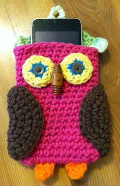 Crocheted Owl Cell Phone - Iphone or Ipod Case Holder