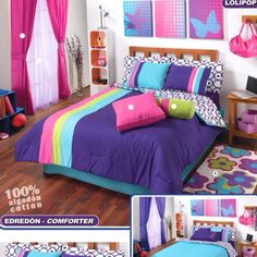 Teenage girl room. http://www.bonanza.com/listings/Teens-Blue-Stripes-Pink-Comforter-Bedding-Set-Queen-8p/29925662?sa=X=M8p7T6WnMMOuiALG3aBb=0CI0BEIMIMAg4Hg