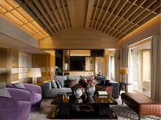 Presidential Suite living room at the Four Seasons Kyoto by HBA Design.