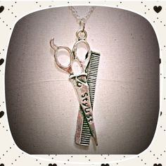 """Silver Hairstylist Necklace This is a perfect gift for the season! This has a 16"""" sterling 925 chain. Made by me! New! Jewelry Necklaces"""