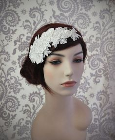 Lace Headpiece Bridal Hair Accessories Lace by januaryrosebridal