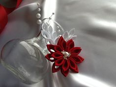 Hey, I found this really awesome Etsy listing at https://www.etsy.com/listing/239352560/hair-clip-red-white-kanzashi-flower-with