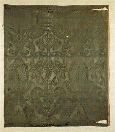 1500's Italian: green silk-velvet damask fabric