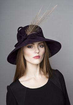 11a17166acc Rachel Trevor Morgan Millinery Autumn Winter 2015 R15W16 Aubergine felt  with pheasant feather Winter Hats