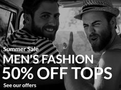 Summer sale men's fashion offer of off tops advertisement with greyscale image background and white easy to edit text. Advertisement Template, Edit Text, Summer Sale, Men's Fashion, Advertising, Templates, Easy, Image, Tops