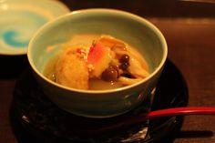 Eddoe Wrapped Yuba&Shimeji(mushroom)&Winter Melon dressed with a thick starchy sauce  at Chiso IIDA  # WASHOKU(和食)