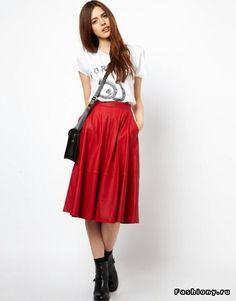 Red skirts midi