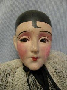 "20"" Antique Pierrot Boudoir Doll c1920 ""Rattle Head Family Krueger"" Tagged | eBay"