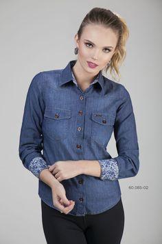 07772213c Camisa Social Feminina Jeans Escuro Com Floral - Camisa feminina de manga  longa - Chemizz Camisaria