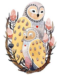 Print of original watercolor painting, Lua and Dali This little mother and baby owl, named Lua and Dali, are characters from my Words of Wisdom animal illustration series. The pair sit together in a nest of blooming banksia. Art And Illustration, Animal Illustrations, Illustrations Posters, Owl Art, Bird Art, Dali, Watercolor Paintings, Owl Watercolor, Owl Paintings