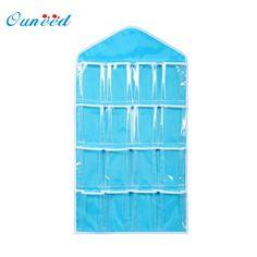 [Visit to Buy] Ouneed organizer 16Pockets Clear Hanging Bag Socks Bra Underwear Rack Hanger Storage Holder quality first DROP SHIP #Advertisement
