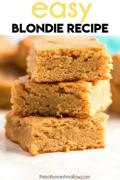 A super easy recipe for a classic, this Blondie Recipe mixes up fast, and tastes amazing! A super easy recipe for a classic, this Blondie Recipe mixes up fast, and tastes amazing! Uses just 7 ingredients and one bowl! Fun Easy Recipes, My Recipes, Sweet Recipes, Easy Meals, Favorite Recipes, Fast And Easy Desserts, Fast Dessert Recipes, Easy Sweets, Easy Baking Recipes