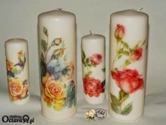VELAS - 108454843358570533544 - Álbumes web de Picasa Decoupage, Diy And Crafts, Arts And Crafts, Natural Candles, Pillar Candles, Soaps, Candle Holders, Homemade, Rose