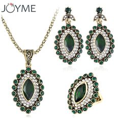 Turkey Vintage Wedding Turkish Jewelry Earrings And Necklace For Women Green African Beads Crystal jewelery Sets decoration ** AliExpress Affiliate's Pin. View the item in details by clicking the VISIT button