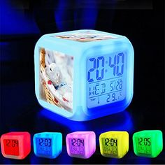 Alarm Clock 7 LED Color Changing Wake Up Bedroom with Data and Temperature Display Changable Color Customize the pattern109Cute Puppies  January 26 2016 at 12 59PM by Dailypuppies ** Want additional info? Click on the image.