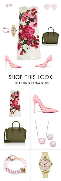 """Rose in Dolce"" by purplecc88criss ❤ liked on Polyvore featuring Dolce&Gabbana, Christian Louboutin, Givenchy and Rolex"