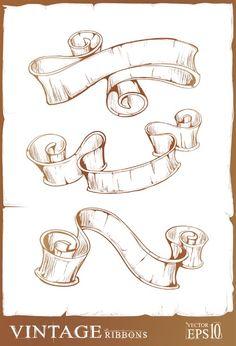 free vector Retro ribbon scroll vector
