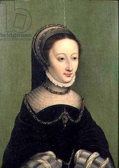 Portrait of a lady, said to be Jeanne d'Albret, mother of Henri IV of France (panel) ... Corneille de Lyon (c.1500-75) (circle of)