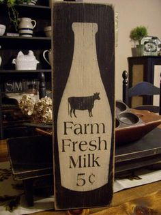 Farm Fresh Milk, Primitive Wood Sign, Milk Sign, Kitchen Sign, Country Kitchen…
