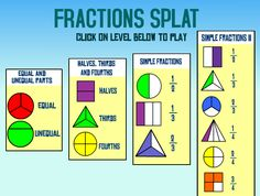 Fractions games - Interactive Learning Sites for Education Fraction Games For Kids, Math For Kids, Fun Math, Math Games, Math Help, Learn Math, Math Activities, Online Learning Sites, Online Math Courses