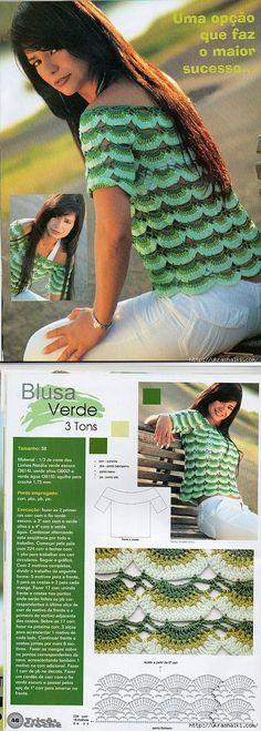 Как связать красивую блузу крючком.. | туники , кофточки | Постила