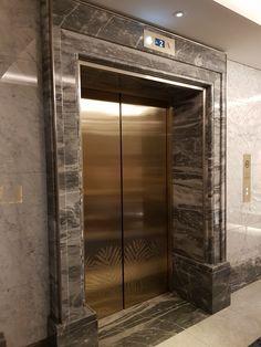 Exterior Wall Design, Front Door Design, Interior Exterior, Elevator Lobby Design, Hotel Lobby Design, Wall Cladding Designs, Elevator Door, Rustic Stairs, Lift Design