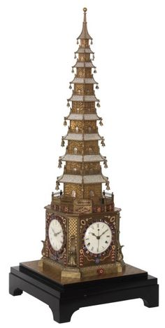 18th C. English Clock For Qing Imperial Court - Extremely Rare 18th Century English Pagoda Automaton Musical Clock For Chinese Qing Imperial Court. Magnificent English made bronze pagoda form automaton table clock, sits on a large black wood base with an engraved chessboard pattern brass top.