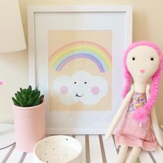 Rainbow and cloud Peach print, cute kids art, pastel print, nursery wall art, wall art for girls, decor for kids room, cute print, rainbow