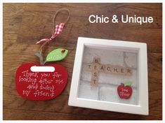 End of term teacher gifts handmade by me for my page www.facebook.com/chicuniquegifts Wooden apple and scrabble tile box frame