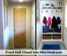 Front Hall Closet into Mini Mudroom - Dreckschleuse Kinder Front Hall Closet, Entry Closet, Hall Closet Organization, Organization Ideas, Storage Ideas, Organizing, Small Entry, Front Entry, Front Hallway