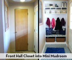 Closet into mudroom