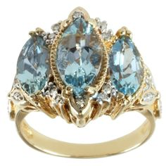 Michael Valitutti 14k Yellow Gold Aquamarine and Diamond Ring | Overstock.com Shopping - The Best Deals on Gemstone