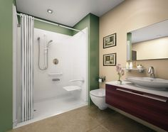 Walk-in standing shower with shower curtain instead of glass door ...