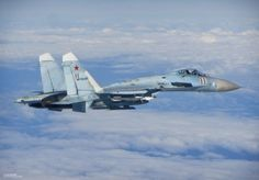 """A Russian Sukhoi SU-27 """"Flanker"""" photographed from a RAF Eurofighter Typhoon II."""