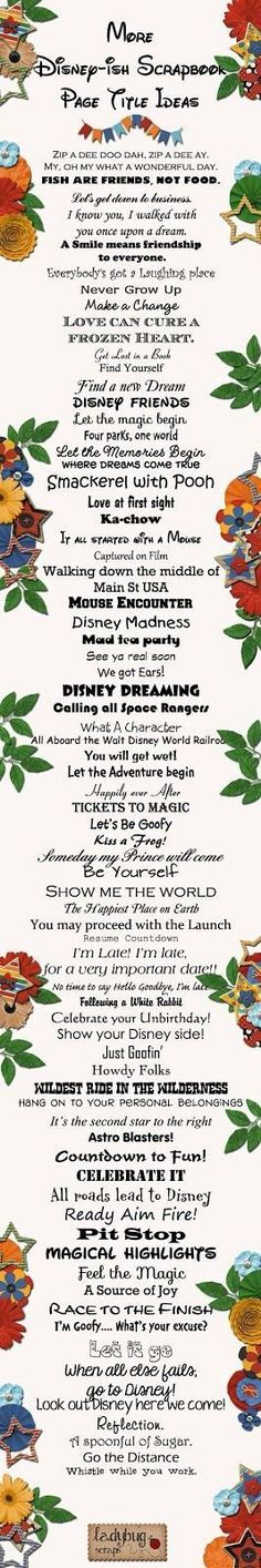 Looking for clever titles for your Disney Vacation scrapbook pages? Then look no further! So imaginative! #vacationscrapbook