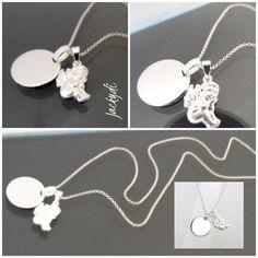 süße Silberkette mit Schutzengelanhänger und Anhänger für eine eigene Gravur