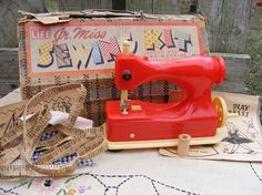 Vintage Toy Sewing Machine Kit Hasbro 50s from OakleafHollowVintage on Etsy
