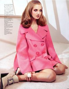 Lindsey Wixson in the most marvelous pink pea coat for Vogue Nippon