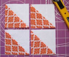 Making half square triangle blocks-the easy way! HST Trick 07