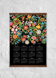 Wallcalendar Flowers 2014 - wall decor - 100% recycled paper - digital print