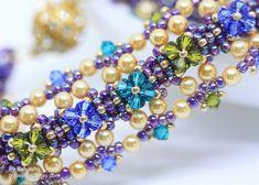 Florentina Bracelet (BeeJang - Piratchada) Tags: beadweaving beading beadwork beaded bracelet jewelry crystal swarovski craw pearl handmade tutorials patterns