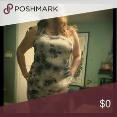 Gorgeous mid calf length dress. Beautiful, form fitting, flattering black and white tie dye type dress. This one will turn heads on the town. Super comfortable too! Dresses Maxi