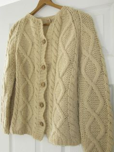 Hand Knit Wool Cardigan Sweater with Wood Buttons by MagicPebble, $18.00